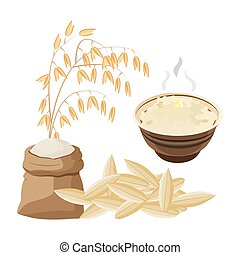 Vector illustration with oat porridge and grain. Oatmeal. A bowls of cereal. Healthy food.
