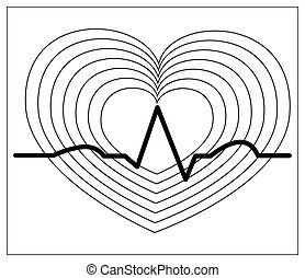 Vector illustration with outlines of blood pressure icon. Heart cheering cardiogram, good health logo. Healthy pulse flat symbol, pulsometer, heartbeat, label hospital equipment. Isolated on white