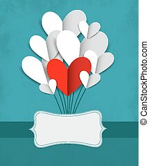 Vector illustration with paper hearts