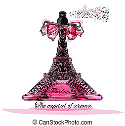 Vector illustration with perfume bottle in shape of Eifel...