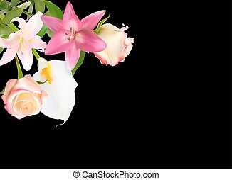 Vector Illustration with Pink Lily, Calla and Roses Isolated on Black Background
