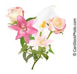 Vector Illustration with Pink Lily, Calla and Roses Isolated on White Background