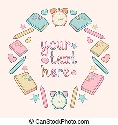 Vector illustration with place for text in circle frame with school elements. Cute school background.