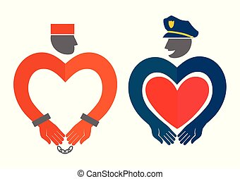 Vector illustration with policeman and prisoner.