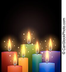 Vector illustration with rainbow candles
