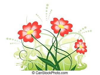 vector illustration with red flowers