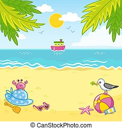 Vector illustration with sand beach and ship. The edge and the seagull on the sand by the sea.