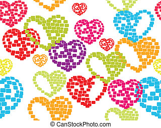 vector illustration with seamless pattern of colorful heart shapes on white background made with blocls for Valentines Day.