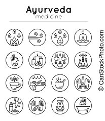 Vector illustration with set of isolated ayurveda icons on white background in trendy linear style for design alternative medicine center, ayurvedic massage, landing, website, yoga studio.
