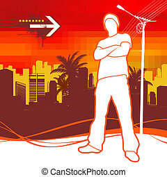 Vector illustration with silhouette of urban young man