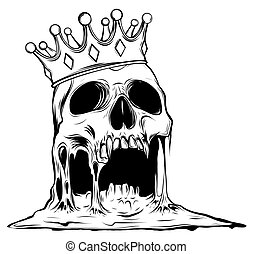 vector illustration with skull in crown isolated on white background