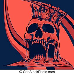 vector illustration with skull in crown on colored background