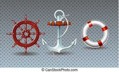 Vector Illustration with Steering Wheel, Anchor and Lifebelt...