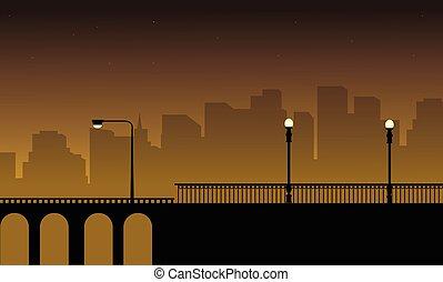 Vector illustration with street lamp on bridge landscape