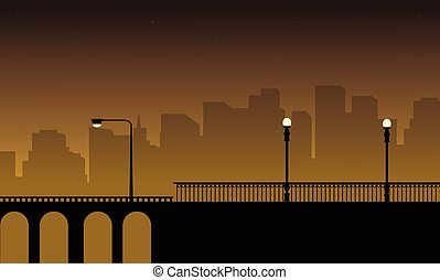 Vector illustration with street lamp on bridge landscape