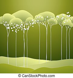 Vector illustration with stylized spring tree
