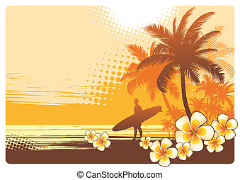 Vector illustration with surfer and tropical landscape