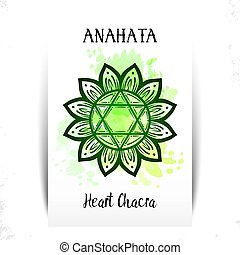 Vector illustration with symbol chakra Anahata on white ...