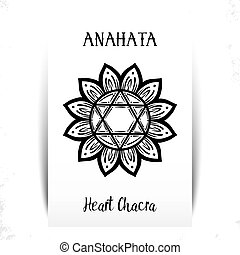 Vector illustration with symbol chakra Anahata on white background. Circle mandala pattern and hand drawn lettering.