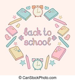 Vector illustration with text Back to school in circle frame with school elements. Children education icons.