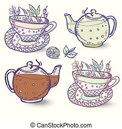 Vector illustration with the image herbal Tea set of elements for design.