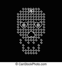 Vector illustration with the image of knit woven, embroidered skull. Macrame.