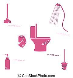 Vector illustration with toilet bowl, shower, toilet paper, soap dispenser, plunger, brush for toilet bowl.