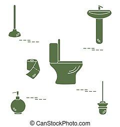 Vector illustration with toilet bowl, washbasin, toilet paper, soap dispenser, plunger, brush for toilet bowl.