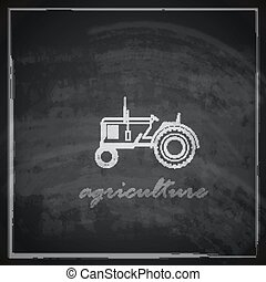vector illustration with tractor icon on blackboard background. farm concept