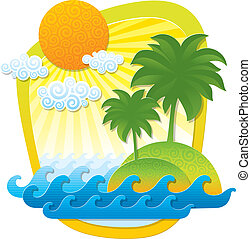 Vector illustration with tropical landscape - imitation of...