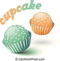 Vector illustration with two cupcakes.