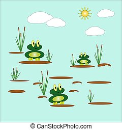 Vector illustration with two cute funny frogs sitting on ...