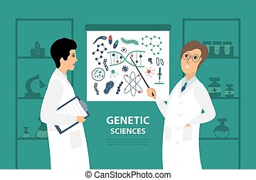 Vector illustration with two scientists in the laboratory.