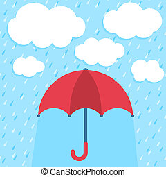 Vector illustration with umbrella and clouds
