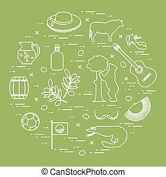 Vector illustration with various symbols of Spain arranged in a circle. Travel and leisure.