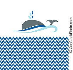 Vector illustration with whale