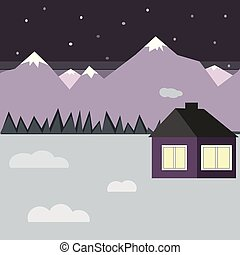 vector illustration with winter house in the snow