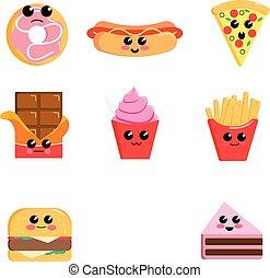 Set of cute kawaii food