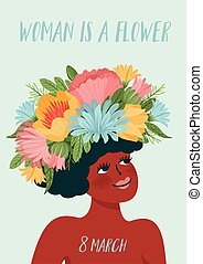 Vector illustration with woman in flower wreath. International Women s Day concept for card, poster, flyer and other