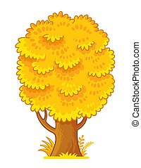 Vector illustration with yellow autumn tree on a white background.