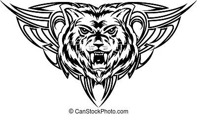 Vector illustration wolf tattoo dezign