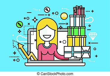 Vector illustration woman in laptop notebook with lot of shopping packing boxes of gifts design element marketing purchase, sale, discount, online store line art