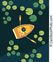 vector illustration woman in the boat floating