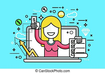illustration woman laptop notebook offers fill in application form design element email marketing, newsletter money win earning, income, discount, online line art style blue background icon
