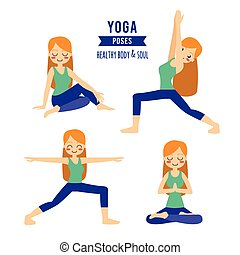 Vector illustration. Woman practicing yoga. In asana...