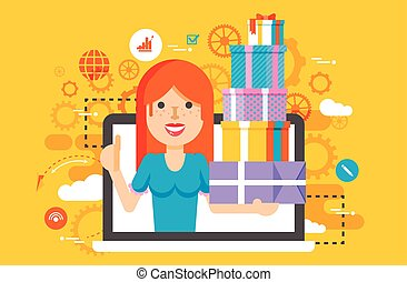 Vector illustration woman thumbs up in laptop notebook with lot of shopping packing boxes of gifts in flat style