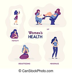 Vector illustration women s health. Fertility, ivf, breastfeeding