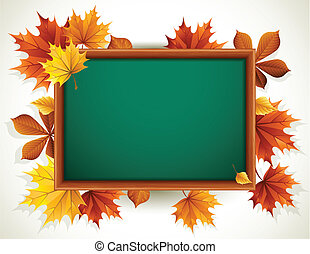 Vector illustration - wooden blackboard with autumn leaves