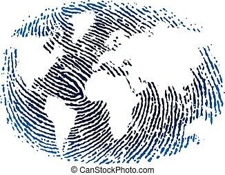 World fingerprint icon in blue tones. Flat style.