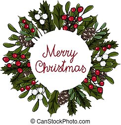 Vector illustration wreath with red and white berries, fir and holly branches, pine cone. Round frame Merry Christmas for cards and winter design.